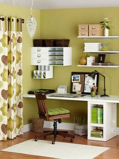 DIY Desk made out of a door and shelf with cubbies & sideway magazine trays + floating shelves