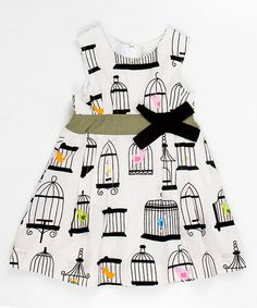 Take a look at this White Birdcage Bow Dress - Infant, Toddler & Girls  by Lourdes on #zulily today!