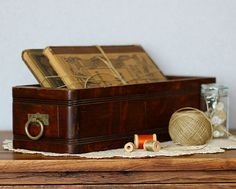 Vintage Wood Sewing Machine Drawer  Desk by TimelessFindsVintage, $20.00