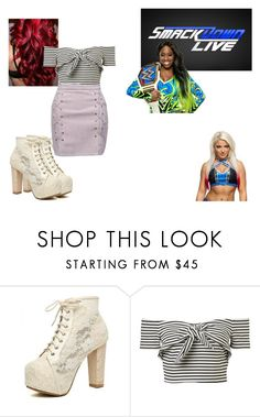 """Ringside for Naomi VS. Alexa Bliss for The Smackdown Woman's Championship."" by jamiehemmings19 ❤ liked on Polyvore featuring WWE and WithChic"