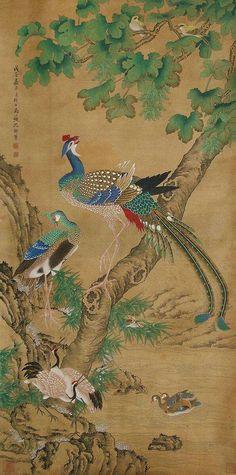 Chinese Painting, Chinese Art, Japanese Illustration, Illustration Art, Kalamkari Painting, Bird Wall Decals, Tibetan Art, Art Japonais, Japan Art