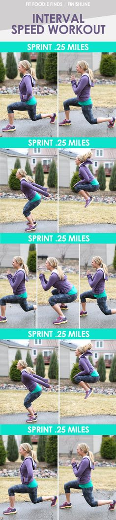 Interval Speed workout Mix sprints and strength for a quick, yet efficient workout that can be done anywhere, anytime! Cardio Workout At Home, Running Workouts, Fun Workouts, At Home Workouts, Workout Mix, Body Workouts, Workout Ideas, Training Fitness, Fitness Tips