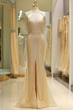Shop our beautiful collection of unique and convertible long Prom dresses from jolilis,offers long bridesmaid dresses for women in the UK.Mermaid High Neck Floor Length Split Gold Prom Dresses uk with Sequins Beading Elegant Dresses, Pretty Dresses, Sexy Dresses, Beautiful Dresses, Formal Dresses, Elegant Gold Dress, Gold Prom Dresses, Mermaid Evening Dresses, Long Bridesmaid Dresses