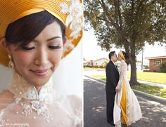 Love the yellow hat with the white ao dai.
