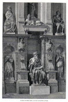 Antique print Rome Moses statue 1872 stampa antica Mosè Michelangelo Vincoli