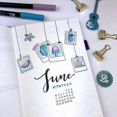 All set up in my bullet journal for June! I knew I wanted the theme to be relate… All set up in my bullet journal for June! I knew I wanted the theme to be related to summer. So, in the end I decided to go with a… Planner Bullet Journal, Bullet Journal Notes, Bullet Journal Spread, Bullet Journal Layout, Bullet Journal Inspiration, Bullet Journal Cover Ideas, Books To Read Bullet Journal, Back To School Bullet Journal, Bullet Journal Savings Tracker