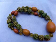 Art Deco Amber Bakelite and Carved Bead Necklace @75.00