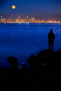 A beautiful view of Seattle across Puget Sound from Bainbridge Island - A short ride away from Seattle by ferry this island was named the second-best place to live in the United States by CNN/Money and Money magazine.