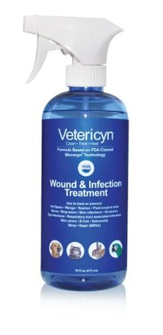 $35.00-$35.00 One-step topical spray that cleans wounds, treats infection and kills bacteria including antibiotic-resistant MRSA. Use to treat hot spots, rain rot, outer ear infections, yeast infections and rashes. This steroid-free, antibiotic-free, no-rinse solution is non-toxic and speeds healing. Vetericyn® Wound and Infection Treatment is based on Microcyn® Technology. This revolutionary ant ...