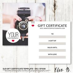 Gift Certificate Template For Photographers  Photography Gift