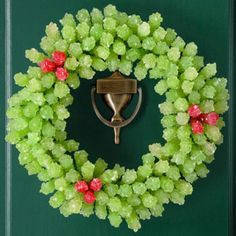 70 Unique and Unusual Christmas Holiday Wreaths - Rock Candy Wreath, lots of great ideas, fun to do with the kids Christmas Candy, All Things Christmas, Christmas Holidays, Christmas Crafts, Christmas Decorations, Merry Christmas, Xmas, Candy Decorations, Cheap Christmas