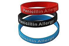 enicillin Allergy Bracelet Medical Alert Silicone Wristband(Pack of 3) Black, Red, and Blue $12