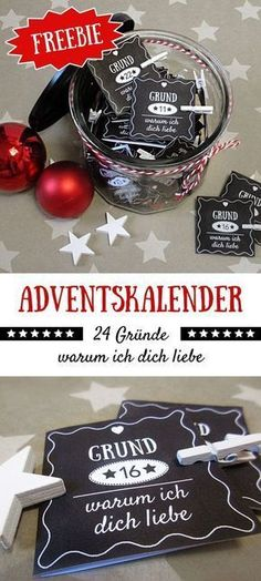 Homemade gifts and decoration ideas - Gifts of Selbstgemachte Geschenke und Dekoideen – Gifts of love Advent calendar for boyfriend / girlfriend: reasons why I love you! Noel Christmas, Christmas And New Year, Winter Christmas, Christmas Bulbs, Christmas Crafts, Holiday, Advent Calenders, Diy Advent Calendar, Kids Calendar