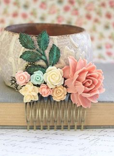 Pastel Flower Comb Pink Rose For Hair Romantic