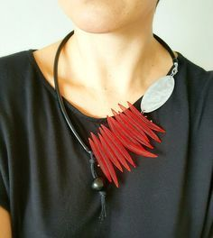 Contemporary jewelry Bib statement necklace Red by PevalekArt