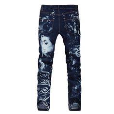 Men   s azul impreso belleza pintadas vaqueros elásticos para hombre de  mezclilla 83aa88046925