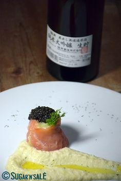 Une entrée de fête fine, délicate et accompagnée de #saké #japonais | Sugar'n'Sale, un blog de #recettes de #cuisine et de #pâtisserie.  #caviar #recipe http://www.sugarnsale.com/2015/12/une-entree-de-fete-fine-delicate-et.html