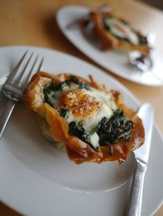 Egg and Spinach Filo Tarts by Victoria Glass