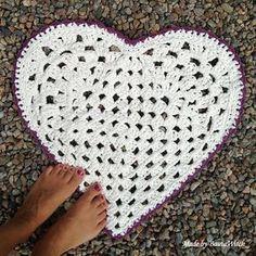 Virka! Mönster, beskrivning, foto. Virkad hjärtformad matta.SVENSKA