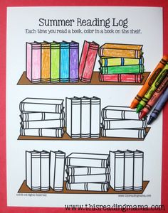 Free summer reading log kids can color. Motivating way to track kids' reading. Reading Logs, Kids Reading, Reading Activities, Teaching Reading, Fun Learning, Library Activities, Reading Workshop, Reading Lessons, Guided Reading