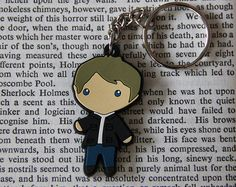 This is a 1.7 in keychain featuring Mr. Darcy from Jane Austens Pride & Prejudice! He is made of silicone. Comes with a keychain ring.   This little guy is super cute and awesome! Dont forget to check out our Miss Bennet keychain to complete the set