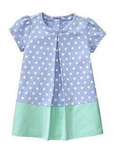 Gap Infant Pleated Dot Shift Dress in River Blue