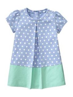 Gap Infant Pleated Dot Shift Dress in River Blue