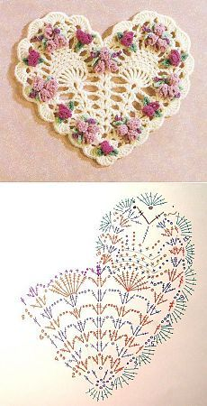 Crochet Heart Motif - Free Crochet Diagram - Then just add your…pretty crochet heart by Stoeps; i like the miniature flower budsDiscover thousands of images about pretty crochet heartPatrones Crochet Corazones San Valentin - Crochet and KnitDelicad Crochet Flower Patterns, Crochet Stitches Patterns, Thread Crochet, Crochet Motif, Crochet Doilies, Crochet Flowers, Easy Crochet, Crochet Lace, Knitting Patterns