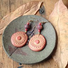 Polymer Clay Stamped Spiral Flower Earrings with Copper Beads. #Handmade #Jewelry #Spiral #Earrings #Copper #Polymer #Clay #Fimo #Mandala #Dangle #Accessories #Hippie #Bohemian