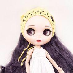 Bandana Amarela Crochê Bonecas Blythe E Outras - Caveirinha