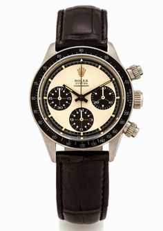 Rolex Daytona Paul Newman 6263 produced in 1972, in stainless steel with black bezel and a two-colour Panda dial.
