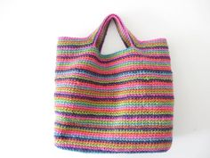 { twine tote, another one } Belt Purse, Striped Bags, How To Purl Knit, Crochet Videos, Knit Crochet, Crochet Bags, Knitted Bags, Crochet Accessories, Knitting Projects