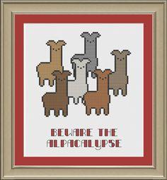 Beware the alpacalypse funny alpaca by nerdylittlestitcher on Etsy, $3.00