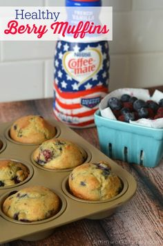 Healthy Berry Muffin Recipe - these pairs perfectly with a delicious cup of coffee and great friends #CMSalutingHeroes #shop