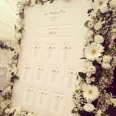 Another beautiful floral seating plan from a recent wedding. More ideas at http://www.toptableplanner.com/blog/summer-themed-wedding-seating-plan