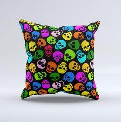 Vivid Vector Neon Skulls Ink-Fuzed Decorative Throw Pillow
