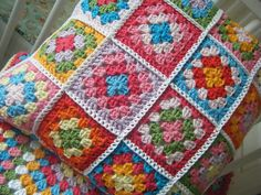 Need to start covering some of my cushion pads, granny squares are the way forward!!