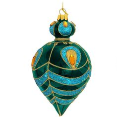Peacock Design Glass Ornament Translucent aqua glass is lavishly festooned with gold glitter, turquoise sequins, and amber gems on this breathtaking ornament. Reminiscent of the glamorous peacock, this richly designed bobbled teardrop is of pure elegance. Peacock Christmas, Pink Christmas, Christmas Balls, Christmas Ideas, Peacock Decor, Peacock Design, Peacock Theme, Peacock Ornaments, Glass Ornaments