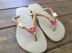colorful sun-loving Havaianas flip flops. summer sandal for women. ornamented flip flops, made with high quality waxed string, lined with shining brass beads and shells. colorful woman beach sandals. made with Havaianas flip flops. ><all sizes available per order>< each one is unique