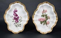 A Pair of Chamberlain Worcester Porcelain Large Botanical Dishes, Circa 1815-20.