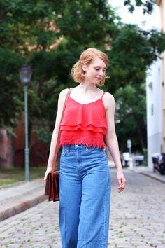 rotes cropped Top, Jeans Culotte, Hose, Sommer Look, Outfit, Tipps, Streetstyle, Modetipps, Finde deinen Stil, Influencer, Deutschland,…