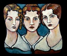 Small tribute portrait of the Bronte Sisters (Anne, Emily and Charlotte)