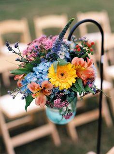 wild flowers  arrangement for wedding