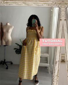 Dress Sewing Tutorials, Dress Sewing Patterns, Diy Clothes Crop Top, Diy Fashion Videos, Diy Clothes Design, Girls Dresses Sewing, Fashion Illustration Dresses, Shirred Dress, Diy Dress