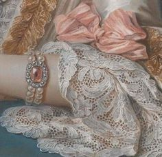 detail of the portrait of Marie Élisabeth de Séré de Rieux, (1724–1795) by Charles Antoine Coypel