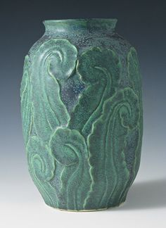 "Jemerick Art Pottery - Fiddlehead Fern Vase. Glazed Stoneware. New York. Circa Early-21st Century. 10""."