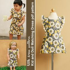 Anya Kid and Doll Matching Dress - PDF Pattern. $9.00, via Etsy.