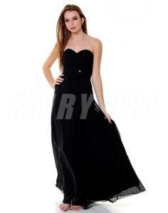 Robe de bal simple décolletée en coeur en mousseline de soie noire longue au sol Strapless Dress Formal, Formal Dresses, Rose, Fashion, Simple Prom Dress, Black Silk, Dresses For Formal, Moda, Pink