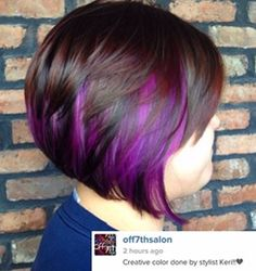 You guys. Do I have the nerve for some peekaboo purple highlights? More subtle than this, but it'd still be PURPLE.