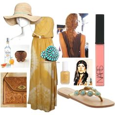 Grapefruit Vodka, created by fauxfloral on Polyvore  Turquoise bracelet at http://silvertribe.polyvore.com/